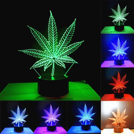 3D Maple Leaf Visual LED Light Color Changeable Night Lamp Holiday Gifts Decor