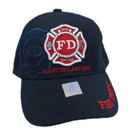Wildbill's Navy Blue First in Last Out Fire Department Embroidered Baseball Cap ()