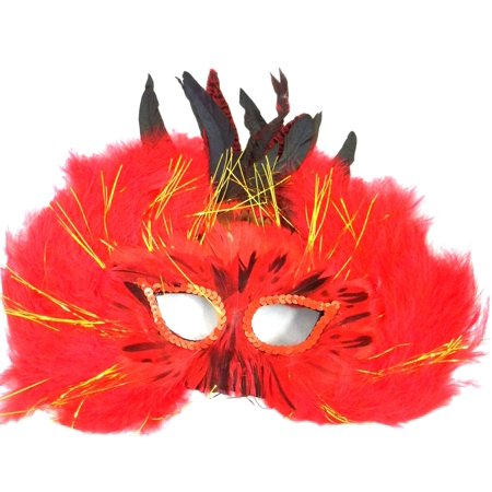 Red Feather Glow Masquerade Costume Ball Prom Mask](Masquerade Prom Decorations)