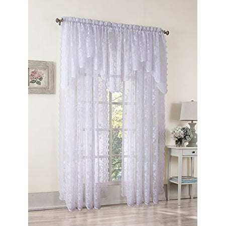 No. 918 Alison Sheer Lace Rod Pocket Curtain Panel 58 x 84 Inch White ()