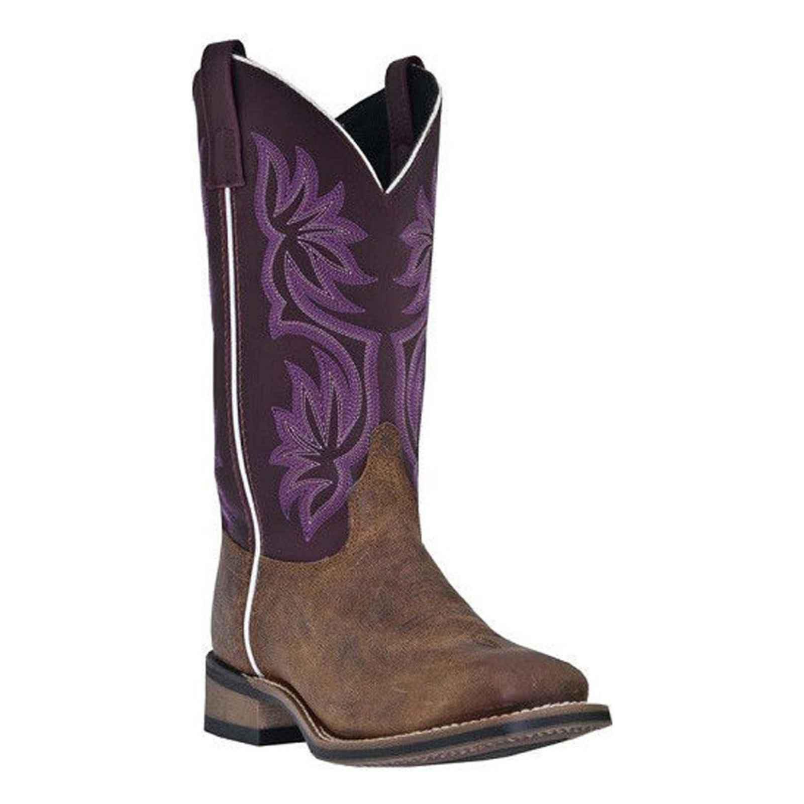 Laredo Western Boots Womens Cowboy Mesquite Vintage Tan Purple 5624 by Laredo