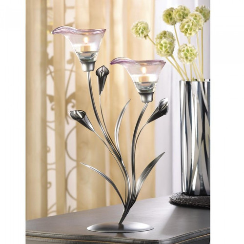 Core of Decor Calla Lily Pewter Candelabra by Eastwind Wholesale Gift Distributors