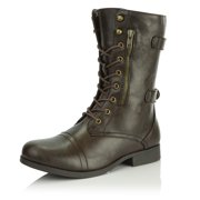 DailyShoes Women's Military Ankle Lace Up Buckle Combat Boots Mid Knee High Booties, Black Pu, 7.5 B(M) US