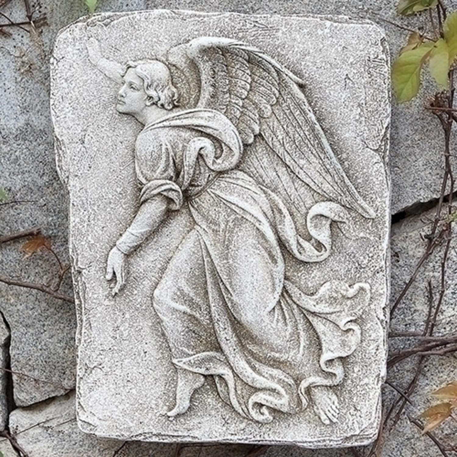 "15""  Leftward Facing Angel Weather-Finished Religious Garden Wall Plaque"