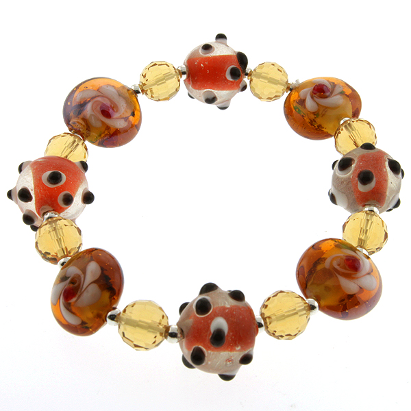 "7.5"" Orange Color Stretchable Handcrafted Murano Glass Beads Adjustable Bracelet"