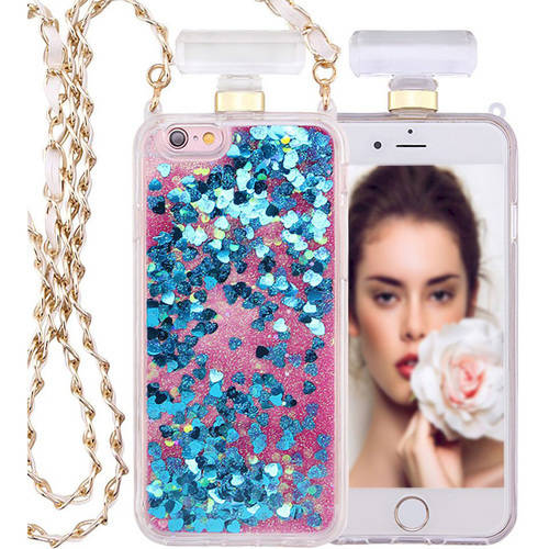 KIKO Wireless Luxurious Perfume Bottle Glitter Shake Star Dust Necklace Case for Apple iPhone 7, 4.7""