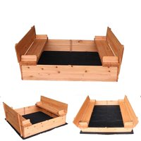 Ktaxon Convertible Cedar Sandbox with Two Bench Seats for Kids