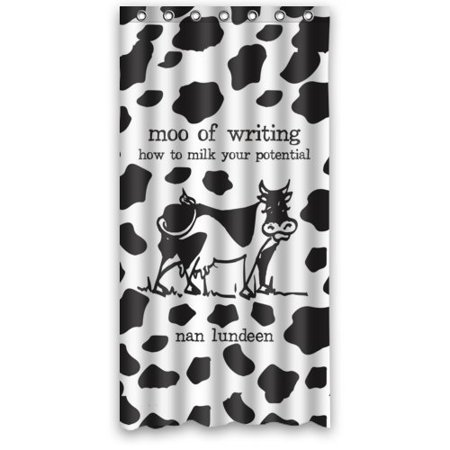WOPOP Dairy Cow Black White Word Waterproof Bathroom Fabric Shower Curtain  36x72 inches