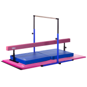 098afabff8f6 Little Gym Deluxe - Blue Adjustable Horizontal Bar and Landing Mat, Pink  Adjustable Balance Beam