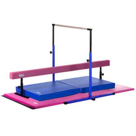 Little Gym Deluxe - Blue Adjustable Horizontal Bar and Landing Mat, Pink Adjustable Balance Beam and Folding Gymnastics Mat