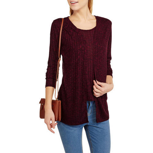 Allison Brittany Allison Brittney Women's Long Sleeve Sweater Knit Ribbed 2 - Fer