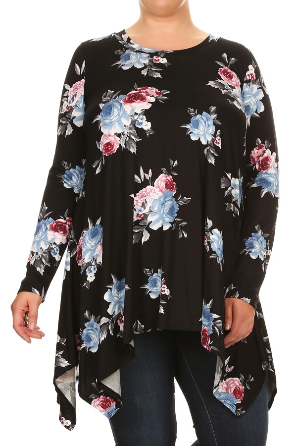 Women's PLUS long sleeves pretty floral print tunic top.