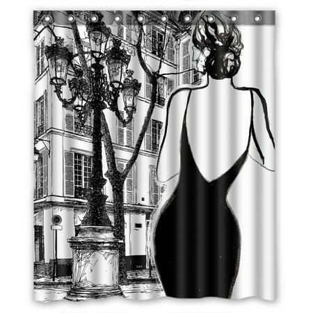 YKCG Black And White Paris Street Elegant Woman Shower Curtain Waterproof Fabric Bathroom 60x72 Inches