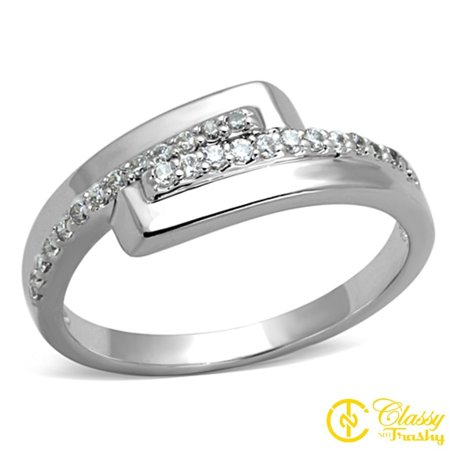 Classy Not Trashy® Size 7 Women's Pave Block Twist Ring with Clear Cubic Zirconia CZ