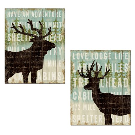 Rustic Lodge Deer - Rustic Forest Elk and Deer Silhouette Set by Michael Mullan; Cabin Lodge Decor; Two 11x14in Unframed Paper Posters (Printed on Paper, Not Wood)