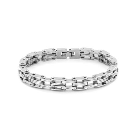 Men S Stainless Steel Bicycle Style Chain Link Bracelet