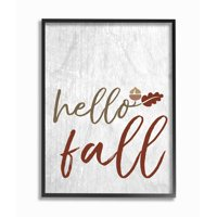 The Stupell Home Decor Collection Hello Fall Oak Leaves and Acorn Oversized Framed Giclee Texturized Art, 16 x 1.5 x 20