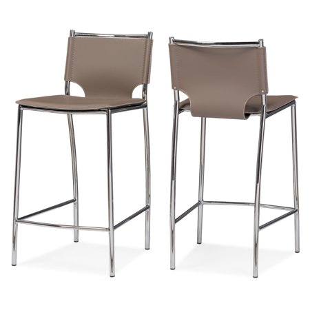 Baxton Studio Montclare Modern and Contemporary Taupe Bonded Leather Upholstered Modern Counter Stool, Set of 2 ()