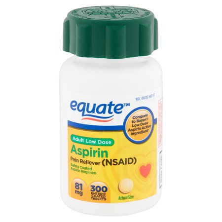 Equate Adult Low Dose Aspirin Enteric Coated Tablets, 81 mg, 300 (Baby Aspirin Dosage For Dogs By Weight)