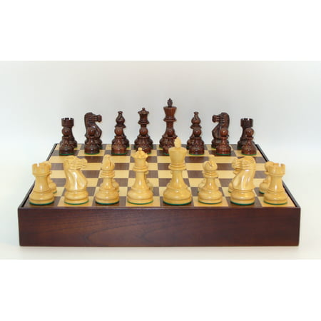 Rosewood Walnut - Rosewood Classic Staunton Chessmen on Walnut/Maple Chest