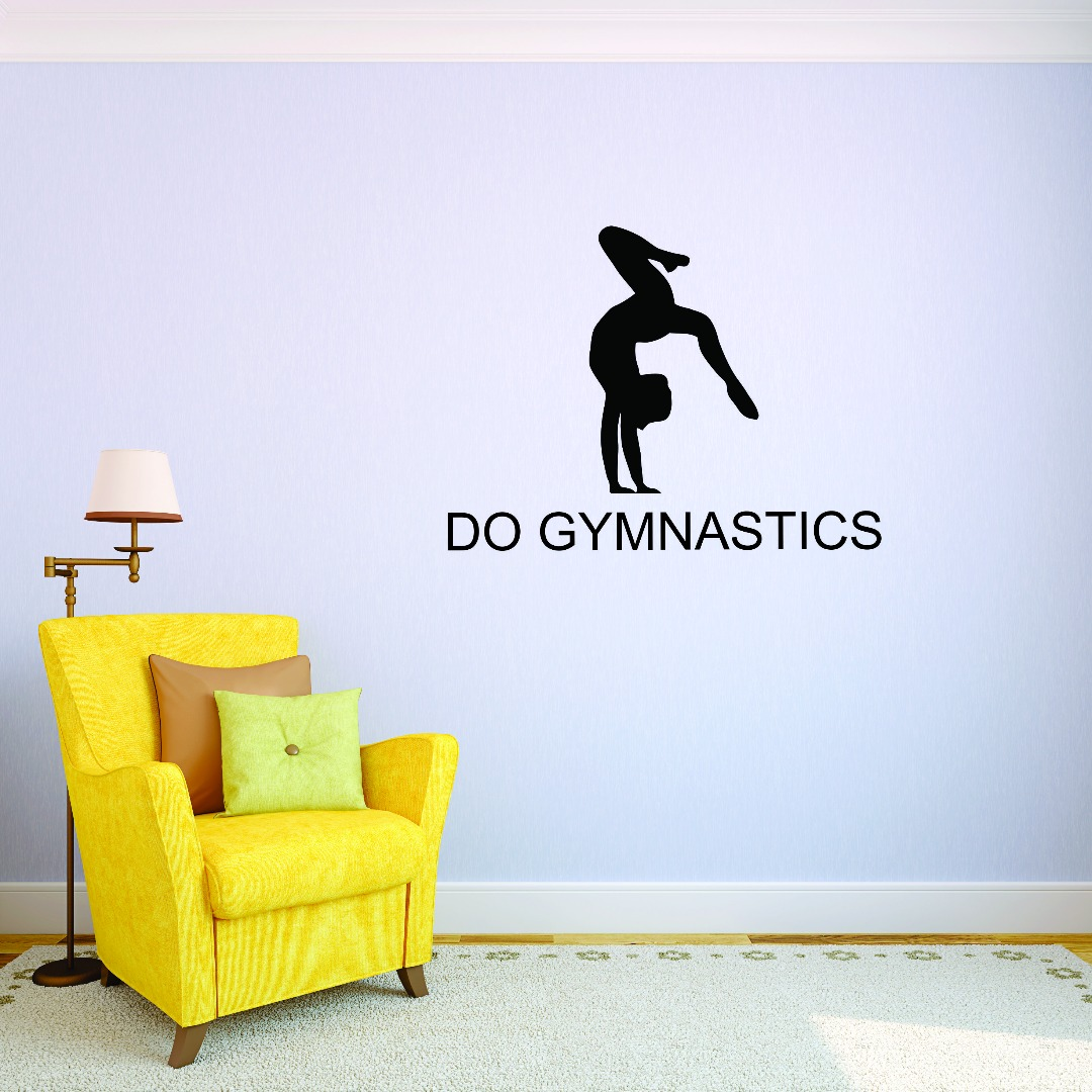 Custom Wall Decal Girl Flipping Tumbling Do Gymnastics Quote Silhouette Picture Art Vinyl Wall Decal Sticker 12x12 Inches