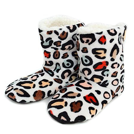 Women's Rainbow Leopard House Slipper Booties- Small (5-6) (Small Doggie Slippers)