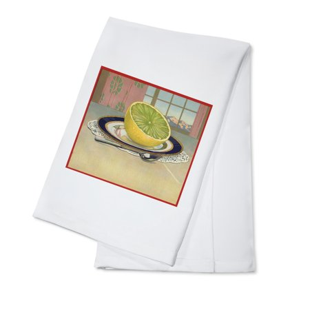 Cotton Plate (Grapefruit on Plate - Citrus Crate Label (100% Cotton Kitchen Towel) )