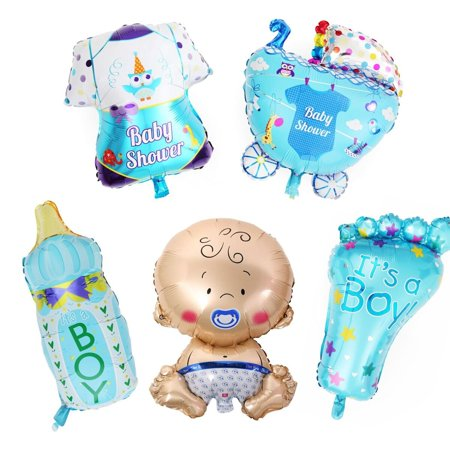Baby Shower Balloon Decorations (LAttLiv Mylar Balloons 5 Pcs Set Baby Shower Decorations For Boy With 100 Free Spot)