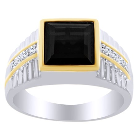 5.89 Ct Square Cut Black Cubic Zirconia & Simulated White Topaz Two-tone Men's Ring in 14k White Gold Over Sterling SilverRing Size - (Bold Square Ring)