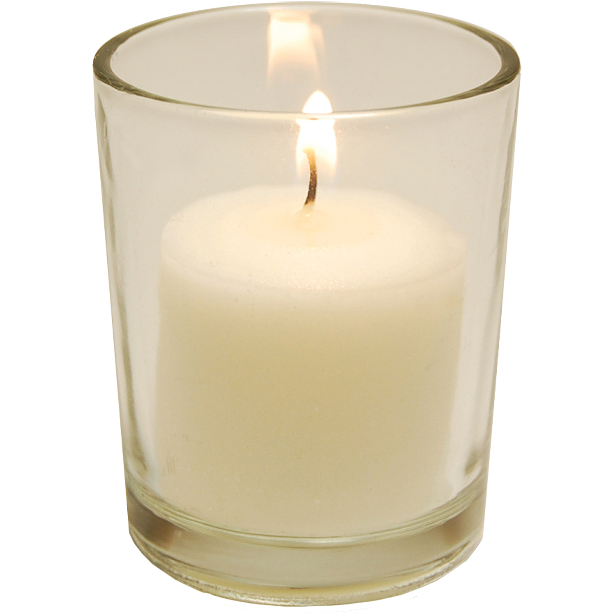 12 Glass Candle Holders with Seventy-Two 10-Hour Votive Candles in Clear or Frosted