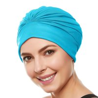 Beemo Women's Swim Bathing Cap Turban – Polyester Latex Lined Pleated for Women & Girls Long/Short Hair (Available in 10 Colors)