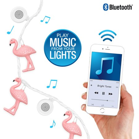 Bright Tunes Indoor Outdoor White Leds With Decorative Flamingo String Lights With B Uetooth Speakers  White Cord