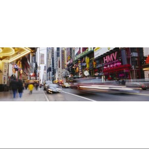 Traffic on the street, 42nd Street, Manhattan, New York City, New York State, USA Poster Print by Panoramic Images (27 x 9)