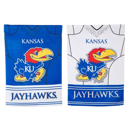 Team Sports America Kansas Jayhawks Double Sided Jersey Suede Garden Flag, 12.5 x 18 inches