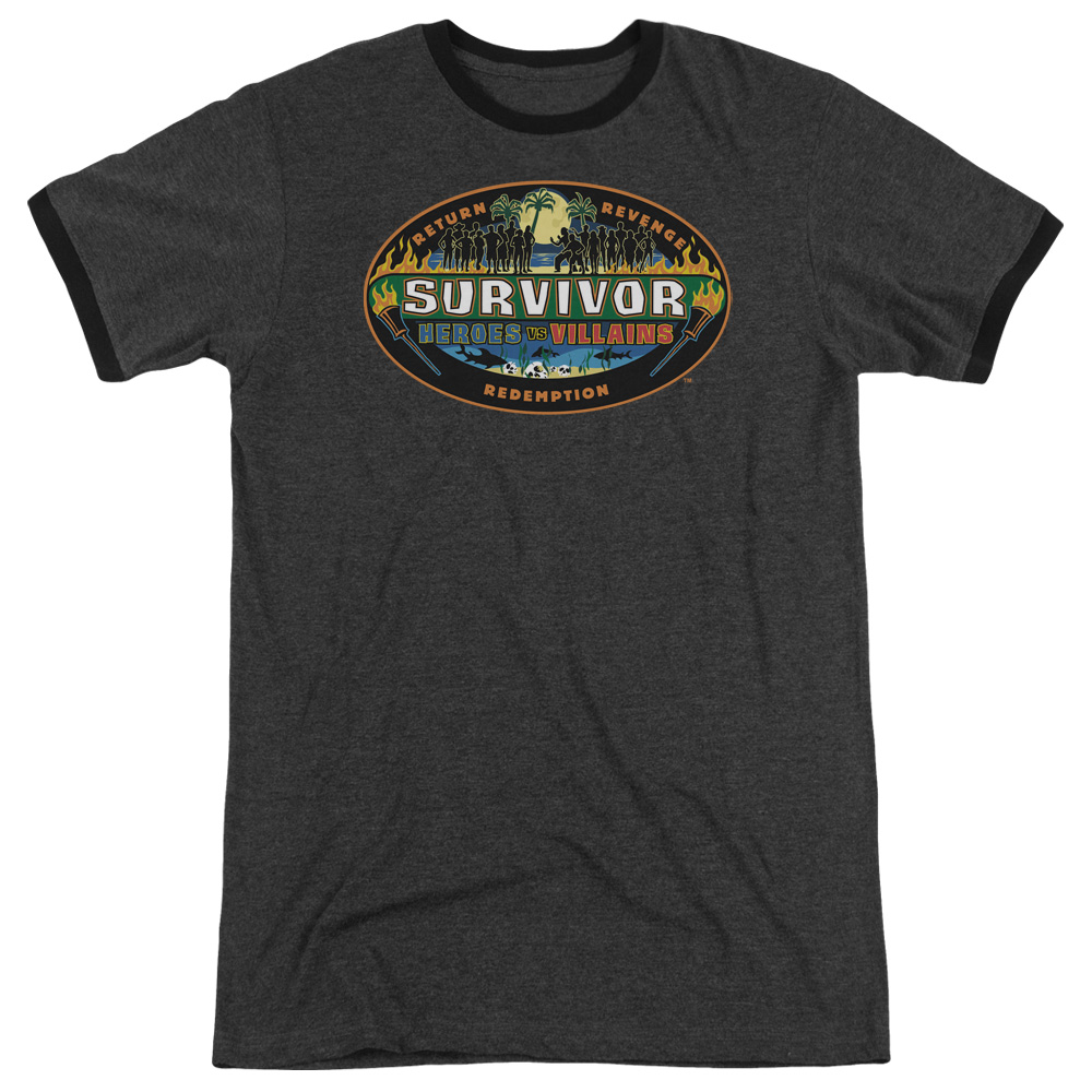 Survivor Heroes Vs Villains Mens Adult Heather Ringer Shirt