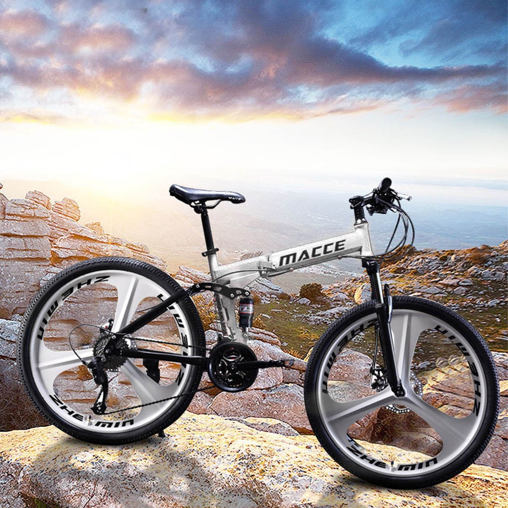 """Details about  /Folding Mountain Bike 26/"""" Front Suspension Bicycle 21 Speed MTB Mens Bikes White"""