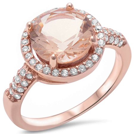 Rose Gold Plated Silver Halo Simulated Morganite & Pave Cubic Zirconia Ring Sizes 5-11 ()