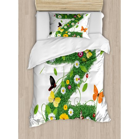 Letter Z Twin Size Duvet Cover Set, Fresh Summer Garden Flower Bed and Cute Butterflies Colorful Wings Leaves, Decorative 2 Piece Bedding Set with 1 Pillow Sham, Green Multicolor, by Ambesonne