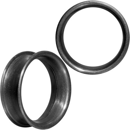 Body Candy Thin Flexible Iridescent Black Silicone Tunnel Plug Set of 2 25mm (Black Flexible Silicone Tunnel)