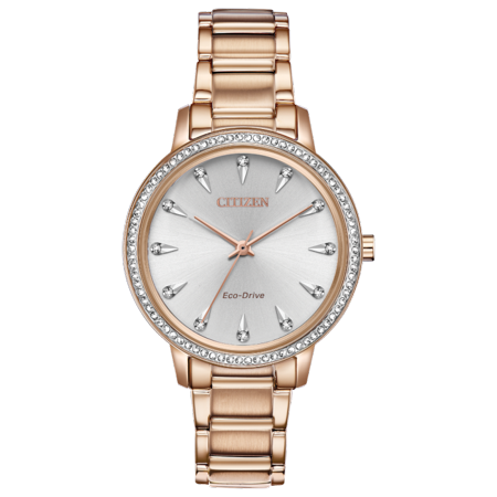 NWT Citizen Ladies Eco-Drive Silhouette Crystal FE7043-55A Stainless Steel Bracelet with Silver-Tone Dial - Citizen Silhouette Crystal