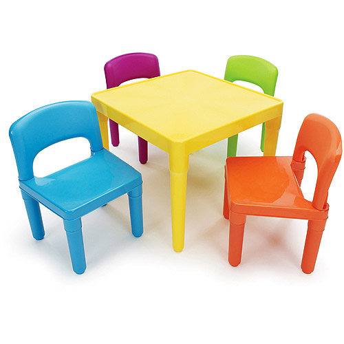 Tot Tutors Kids Plastic Table and 4 Chairs Set, Multiple Colors