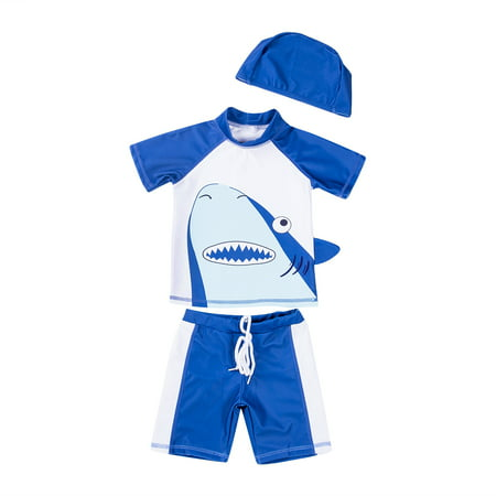Kids Swimming Costumes Baby Boys Cute Shark Swimwear Summer Beach Swimsuit Bathing Suit - Chain Link Shark Suit