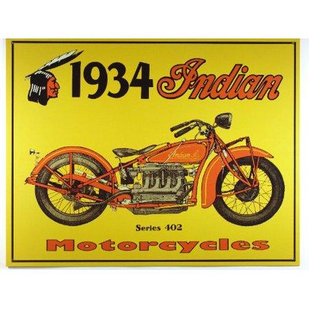These Nostalgic Metal - Desperate Enterprises Vintage Metal Sign - Nostalgic Indian Motorcycles: 1934 Series 402, 16