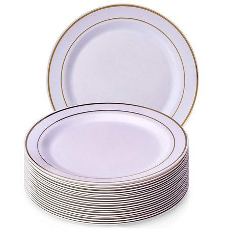 (PARTY DISPOSABLE 20 PC DINNERWARE SET   20 Dinner Plates   Heavy Duty Disposable Plastic Dishes   Elegant Fine China Look   Upscale Wedding and Dining (Golden Glare – White/Gold Border   10.25 Inch))