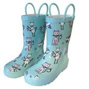 Angel Blue Kittens Toddler Girls Rain Boots 5-10