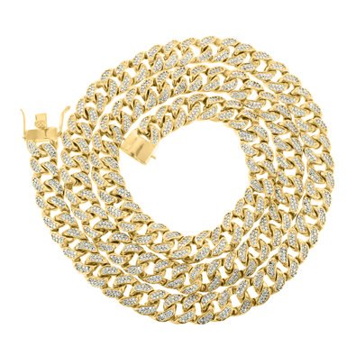 Mens Elegant Miami Cuban Icy 14K Gold Finish Simulated Diamond 30   Chain Necklace