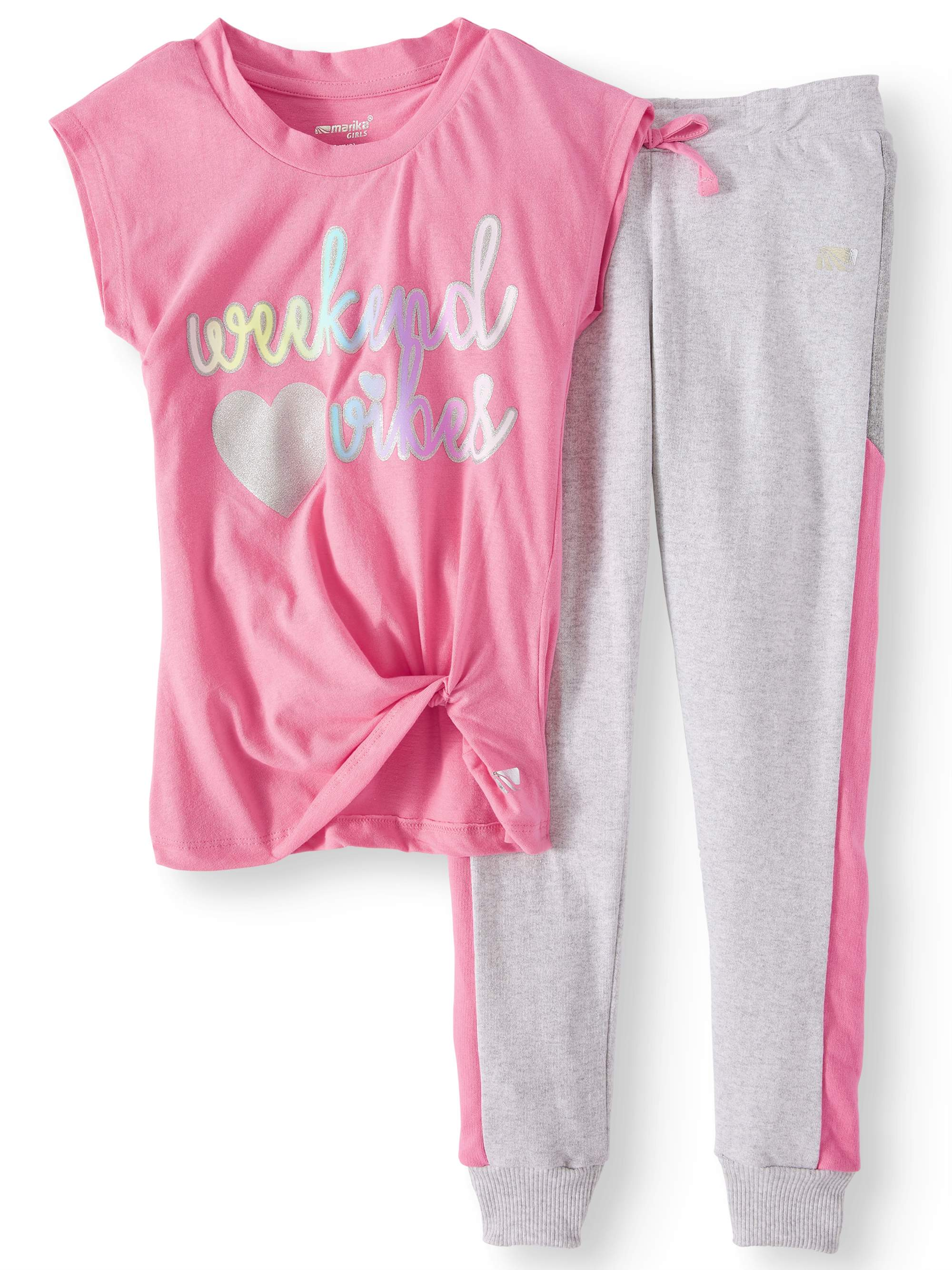 Glitter Graphic Top and Colorblock Jogger, 2-Piece Active Set Set (Little Girls & Big Girls)