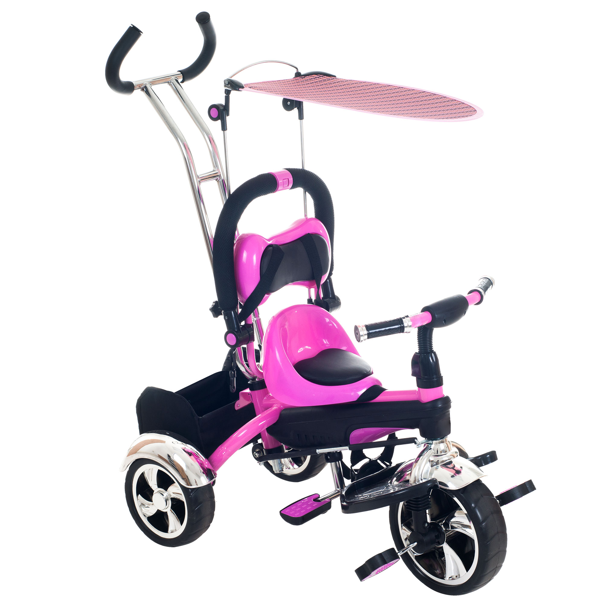 Tricycle Stroller Bike, 3-1 Stroller with Removable Canopy and Stroller Organizer by Hey! Play!, Ride on Toys for Boys and Girls, 1 - 5 Year Old, Pink