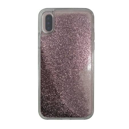 Onn Lightweight Slim Clear Case For Iphone X Rose Gold Glitter