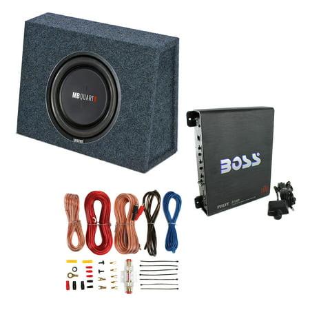 Watt Subwoofer Box Sub Enclosure (MB Quart 400 Watt 10 Inch Subwoofer + Slim Sub Box Enclosure + Car Amp + Wiring )